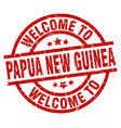 welcome to papua new guinea red stamp vector image vector image