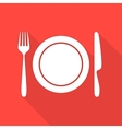 Plate with cutlery and long shadows vector image