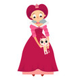 princess with a charming little cat vector image