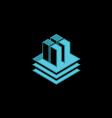 data technology cube 3D logo vector image