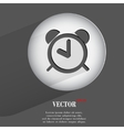 alarm clock Flat modern web button with long vector image vector image