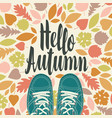 autumn banner with inscription and green shoes vector image vector image