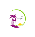 Beach palm tree sunset tropic logo