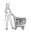 beauty woman standing shopping concept outline vector image vector image