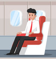 businessman sitting and relax on plane vector image