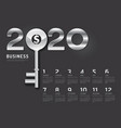 calendar 2020 concept business key to success vector image vector image