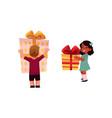 cartoon girl boy keeping gifts in hands vector image vector image