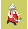 cartoon happy chef jumping with a knife vector image vector image