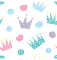childish seamless pattern with crowns and hearts vector image vector image