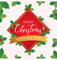 christmas and new year card with leaves vector image