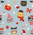 christmas cats seamless pattern cute kittens in vector image vector image