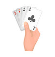 combination of cards in hand playing cards single vector image vector image