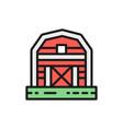 farm barn greenhouse countryside color line icon vector image vector image