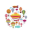 flat air travel round concept vector image vector image