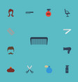 flat icons comb hairbrush blow-dryer and other vector image vector image