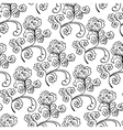 floral decorative black and white pattern vector image