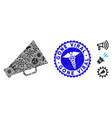 flu collage megaphone icon with caduceus grunge vector image vector image
