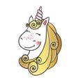 hand drawn cute magic unicorn vector image vector image