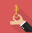 hand hold money key vector image vector image