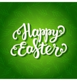 Happy easter lettering on floral green pattern vector image