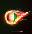 Ivory flag with flying soccer ball on fire vector image vector image