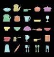 kitchen dishes set doodle for vector image