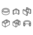 line metal profilies icons set vector image