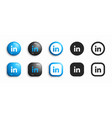 linkedin modern 3d and flat icons set vector image
