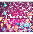 Merry christmas poster on red background vector image vector image