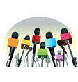 microphones on the podium vector image