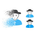 moving dot halftone christian priest icon with vector image vector image