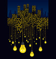 night city and light bulbs hanging on wires vector image vector image