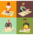 people cooking at kitchen table and stove vector image