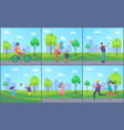 people playing and resting in park cartoon banner vector image vector image