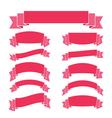 pink ribbon banners set vintage vector image vector image