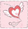 pink valentine card with heart and magic lamp vector image vector image