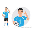 positive asian soccer player smiling and vector image