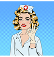 Pretty Nurse in Pop Art Style Gesturing Okay vector image vector image