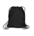 realistic drawstring bag black sport backpack vector image vector image