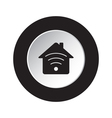 round black white button - house with signal icon vector image