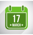 Saint Patricks day flat calendar icon with long vector image vector image