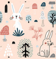 semless woodland pattern with cute rabbits vector image vector image