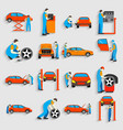 set auto mechanic car service repair and vector image