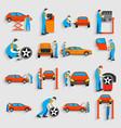 set of auto mechanic car service repair vector image