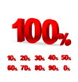 Set of red 3d figures digi percent vector image vector image