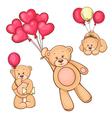 set teddy bear and balloons vector image vector image
