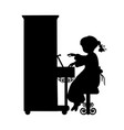 silhouette girl music plays the piano vector image