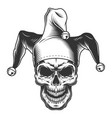 skull in jester hat vector image