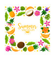 square frame made exotic fruits vector image vector image