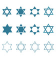 star of david shape icon set in flat and outline vector image